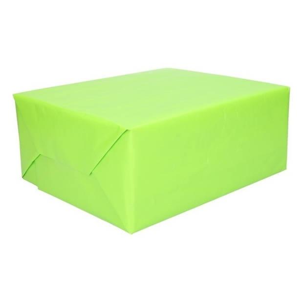 3 rollen Kadopapier lime groen 200 x 70 cm - Cadeaupapier