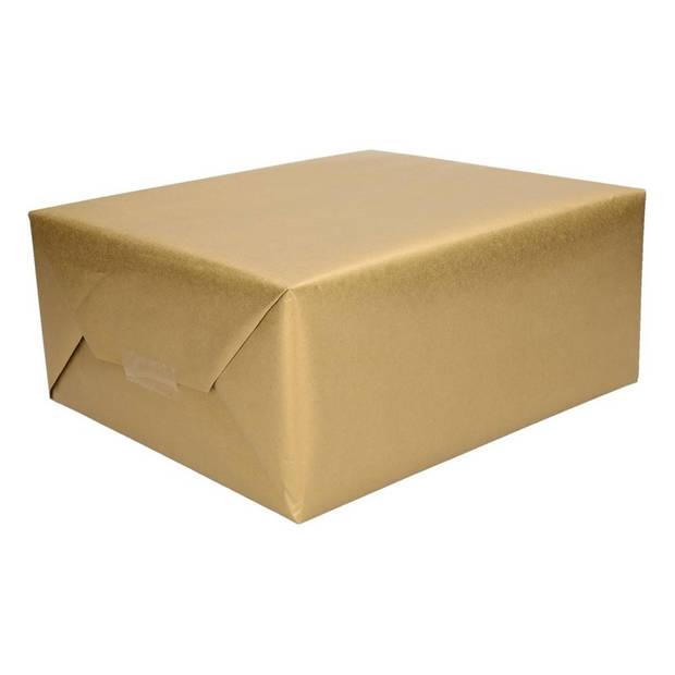 2x Cadeaupapier goud op rol - 500 x 50 cm - kadopapier / inpakpapier