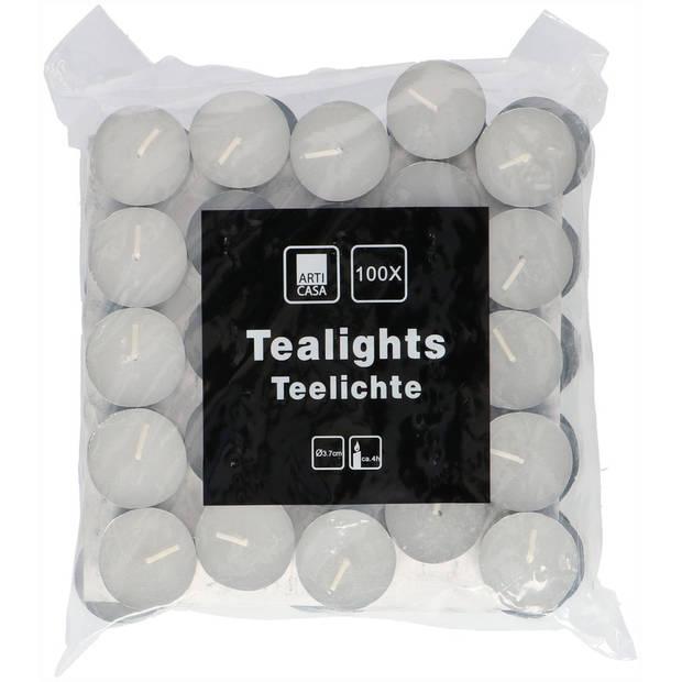 100x Theelichtjes/Waxinelichtjes 4 branduren - Kaarsen voor thuis