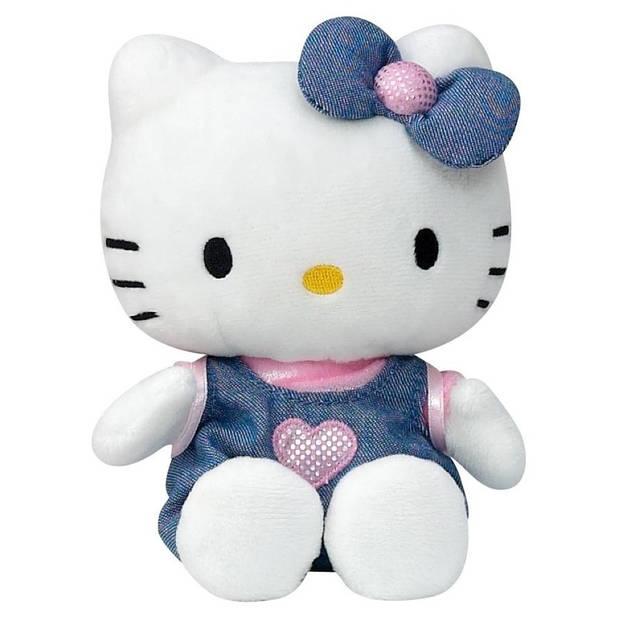 Pluche Hello Kitty knuffel in blauw jurkje 15 cm