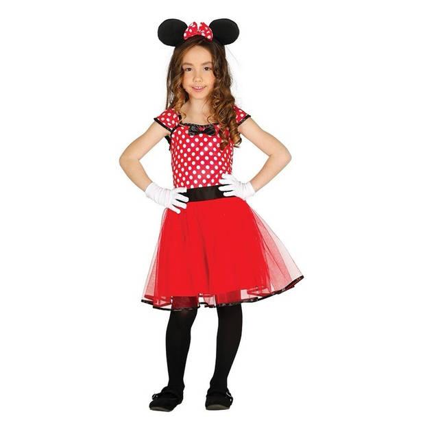 Muizen jurkje/kostuum rood met stippen voor meisjes - verkleedkleding meisjes 10-12 jaar (140-152)