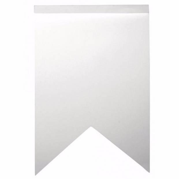 Blanco zigzag vlaggetjes 36 stuks - Feestslingers