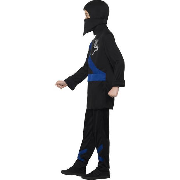 Ninja kostuum zwart/blauw voor kinderen 145-158 (10-12 jaar) - Carnavalskostuums