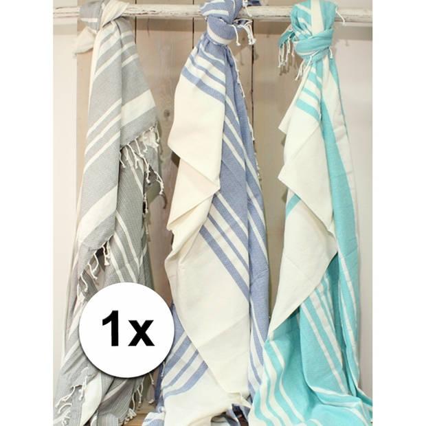 Hamam handdoek XL blauw 200 x 240 cm - Strandlakens