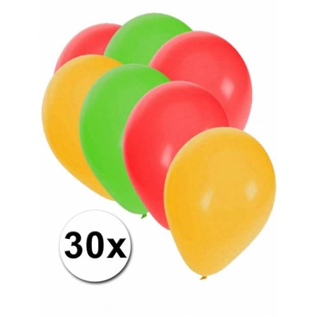Ballonnen rood/geel/groen 30 stuks - Ballonnen