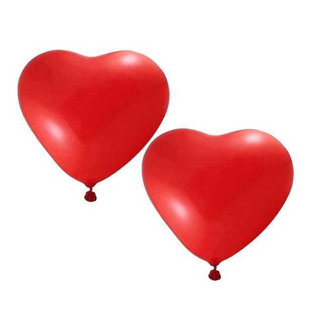 Rode hartjesballonnen 12 stuks inclusief ballonpomp - Ballonnen