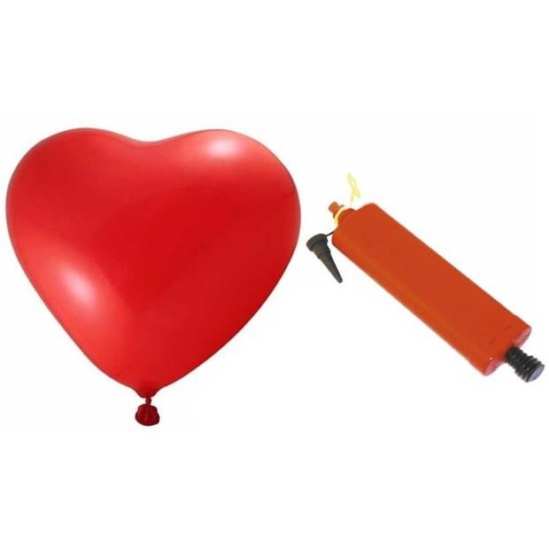 Rode hartjesballonnen 18 stuks inclusief ballonpomp - Ballonnen