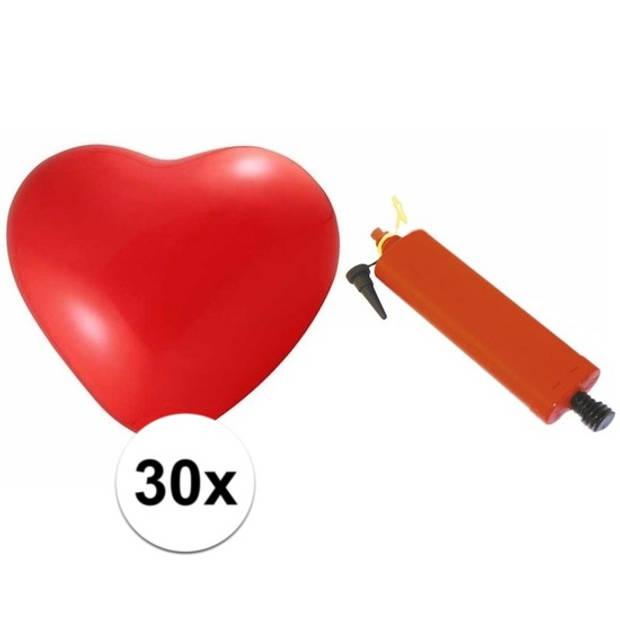 Rode hartjesballonnen 30 stuks inclusief ballonpomp - Ballonnen