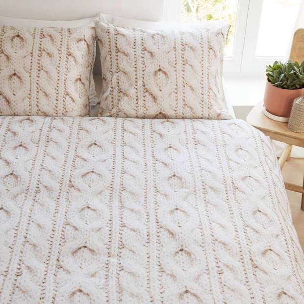 Snoozing Porto flanel dekbedovertrek - Lits-jumeaux (240x200/220 cm + 2 slopen) - Flanel - White