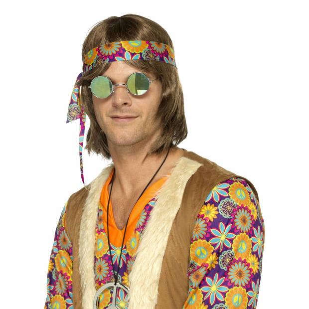 Hippie bril spiegelglazen groen/blauw voor volwassenen - Verkleedbrillen