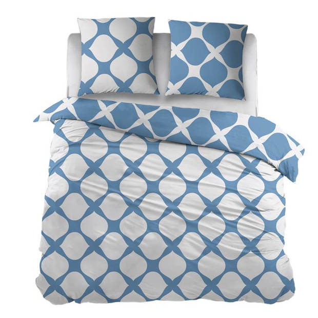 Snoozing Mia dekbedovertrek - Lits-jumeaux (270x200/220 cm + 2 slopen) - Katoen - Blue