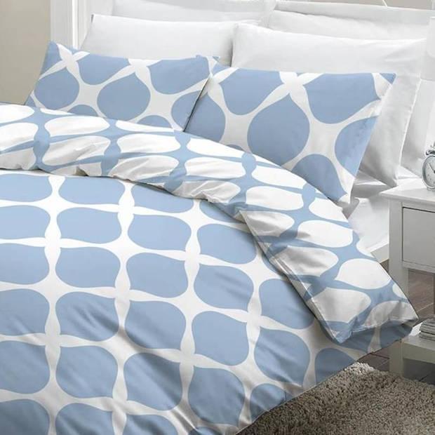 Snoozing Mia dekbedovertrek - 100% katoen - 2-persoons (200x200/220 cm + 2 slopen) - 2 stuks (65x65 cm) - Blauw