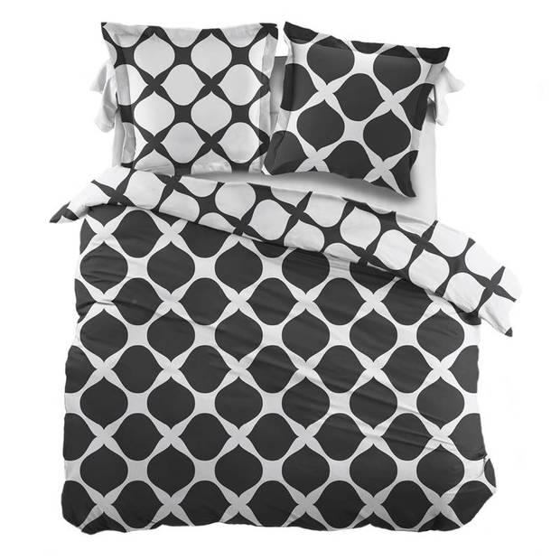 Snoozing Mia dekbedovertrek - 100% katoen - 1-persoons (140x200/220 cm + 1 sloop) - 1 stuk (65x65 cm) - Grijs, Antracite