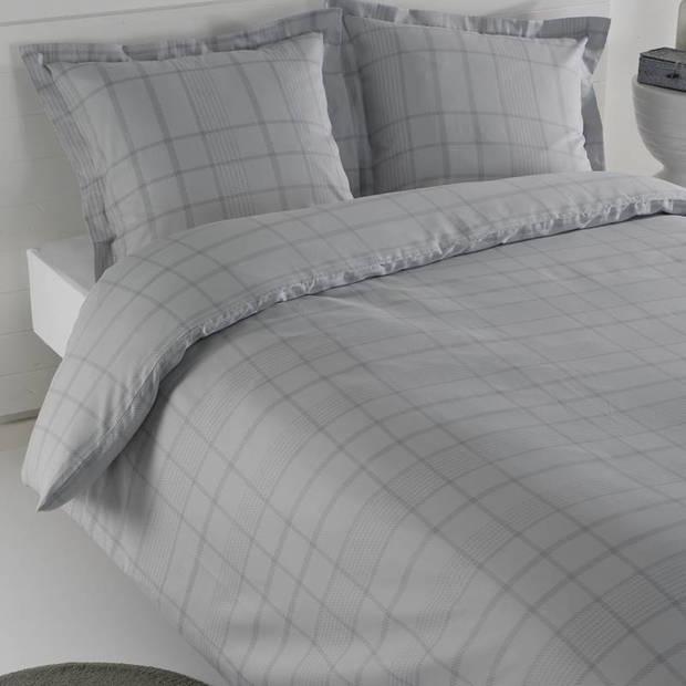 Snoozing Serge dekbedovertrek - Lits-jumeaux (270x200/220 cm + 2 slopen) - Katoen satijn - Silver