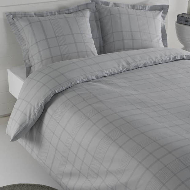 Snoozing Serge dekbedovertrek - Lits-jumeaux (240x200/220 cm + 2 slopen) - Katoen satijn - Silver