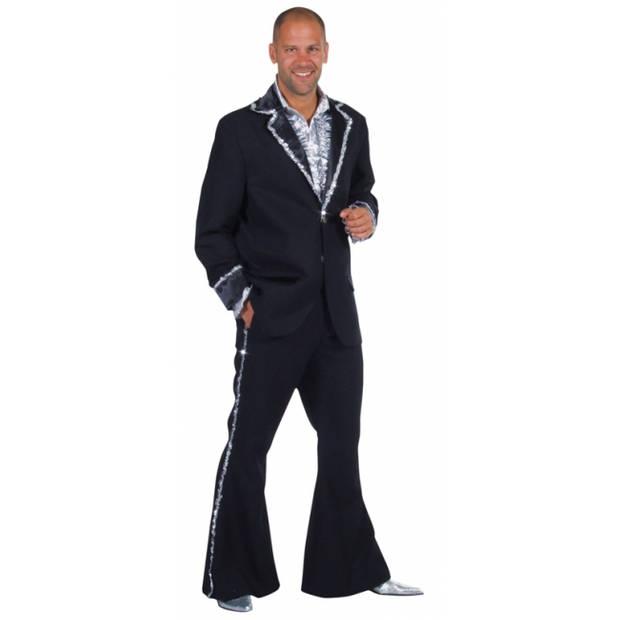 Zwart Bling Bling kostuum heren 60-62 (XL) - Carnavalskostuums
