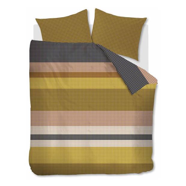 Beddinghouse Grid Stripe dekbedovertrek - Lits-jumeaux (240x200/220 cm + 2 slopen) - Katoen satijn - Gold