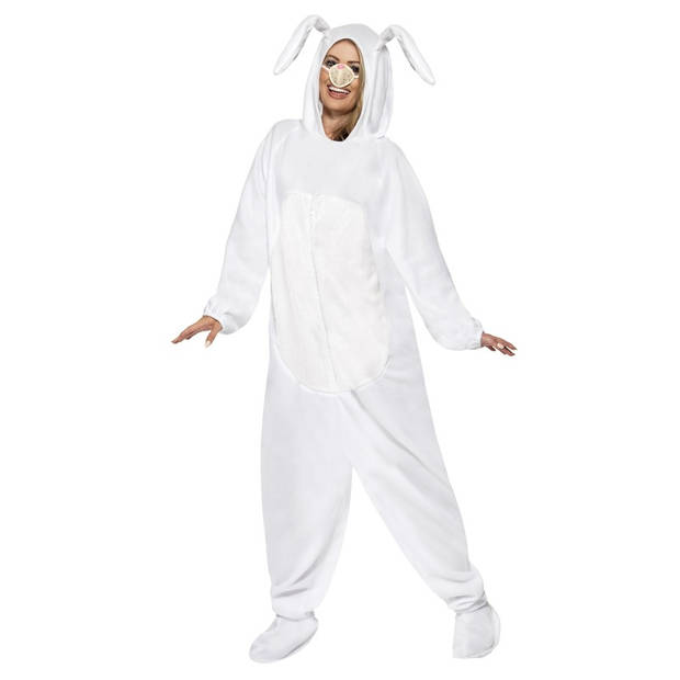 Paashaas kostuum wit maat M met paasmandje voor volwassenen - Carnavalskostuums