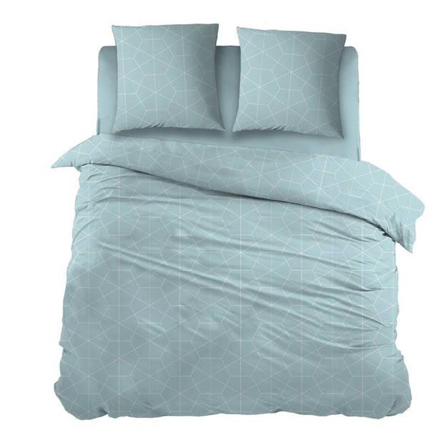 Snoozing Marieke dekbedovertrek - 100% katoen - 1-persoons (140x200/220 cm + 1 sloop) - 1 stuk (65x65 cm) - Blauw