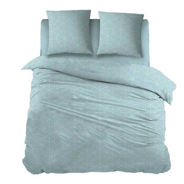 Snoozing Marieke dekbedovertrek - 100% katoen - 2-persoons (200x200/220 cm + 2 slopen) - 2 stuks (65x65 cm) - Blauw