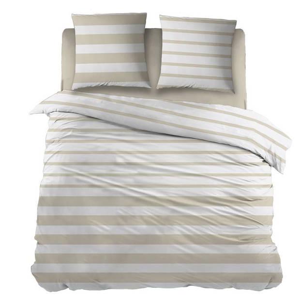 Snoozing Mandy dekbedovertrek - 100% katoen - 1-persoons (140x200/220 cm + 1 sloop) - 1 stuk (65x65 cm) - Beige