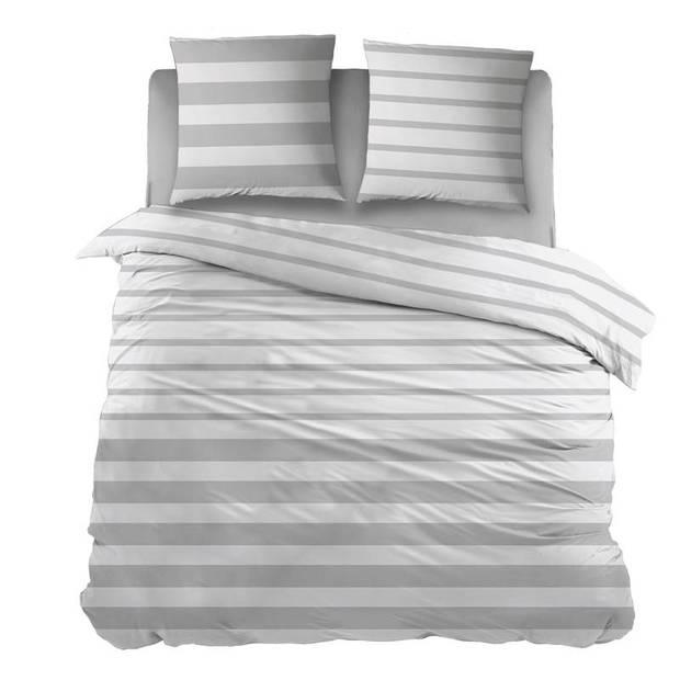 Snoozing Mandy dekbedovertrek - 100% katoen - 2-persoons (200x200/220 cm + 2 slopen) - 2 stuks (65x65 cm) - Grijs