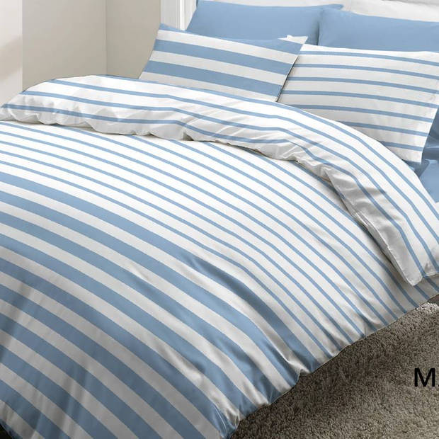 Snoozing Mandy dekbedovertrek - 100% katoen - 1-persoons (140x200/220 cm + 1 sloop) - 1 stuk (65x65 cm) - Blauw