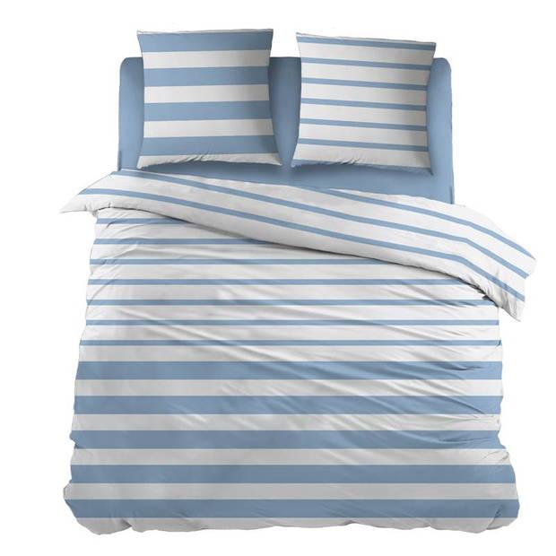 Snoozing Mandy dekbedovertrek - 100% katoen - 2-persoons (200x200/220 cm + 2 slopen) - 2 stuks (65x65 cm) - Blauw