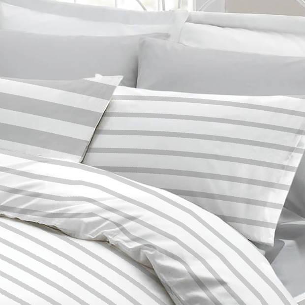 Snoozing Mandy dekbedovertrek - Lits-jumeaux (240x200/220 cm + 2 slopen) - Katoen - Grey