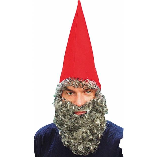 Kabouter muts met baard rood - Verkleedhoofddeksels