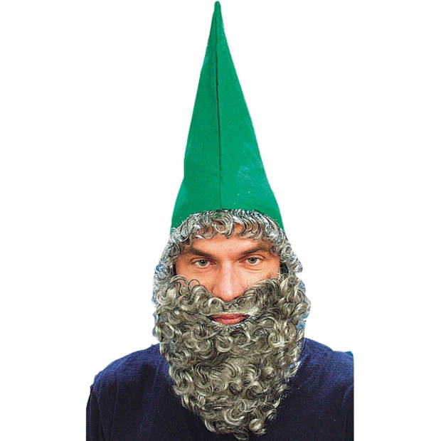 Kabouter muts met baard groen - Verkleedhoofddeksels