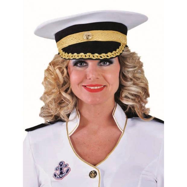 Luxe kapiteins pet wit - Verkleedhoofddeksels