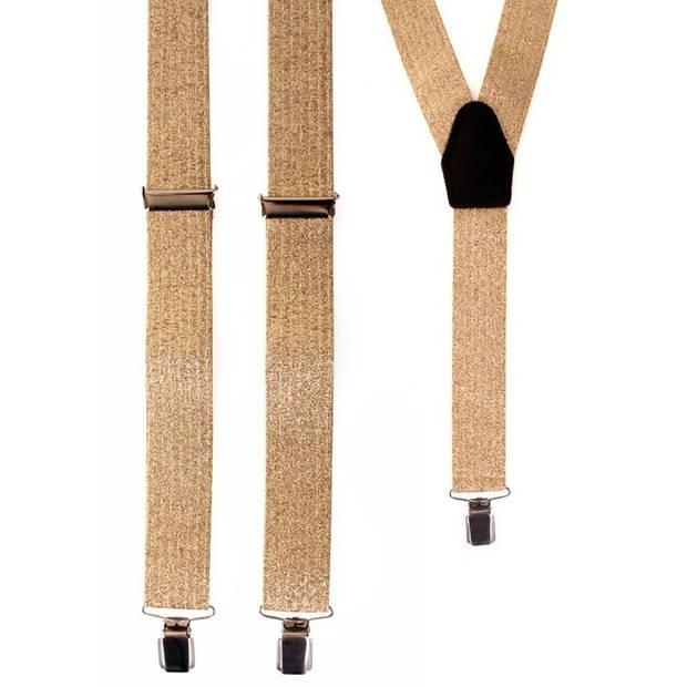 Brede lurex gouden bretels - Verkleedbretels