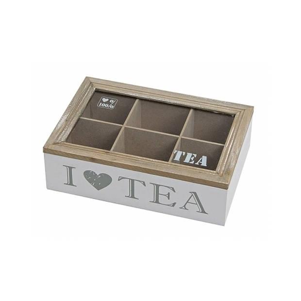 Witte houten theedoos met 6 vakken I love tea - Theedozen