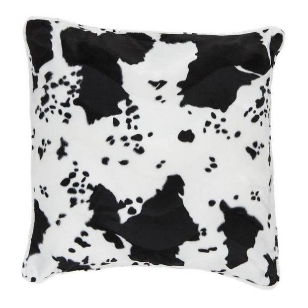 Sierkussen fluweel met koeienprint zwart/wit 47 x 47 cm - woonartikelen/woonaccessoires