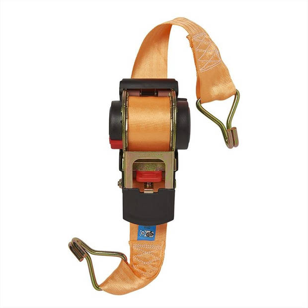 ProPlus spanband met ratel 450 cm in blister zwart/oranje