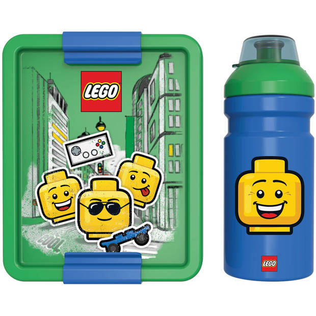 LEGO lunchset Iconic 2-delig groen/blauw