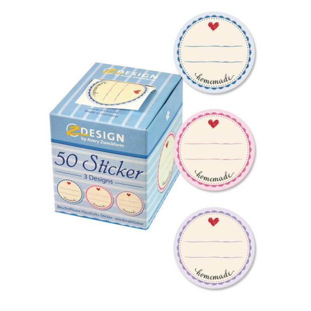 Huishoud sticker box 'Homemade' 3 designs