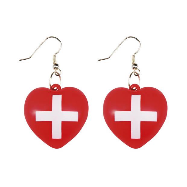 Boland oorbellen Verpleegster dames rood/wit