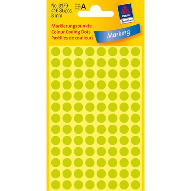 etiket Zweckform 8mm rond 4 vel a 104 etiketjes lichtgroen