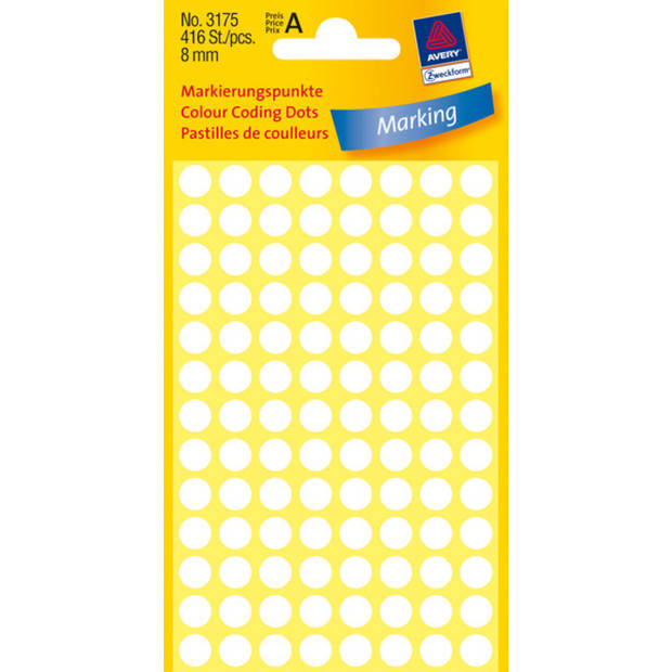 etiket Zweckform 8mm rond 4 vel a 104 etiketjes wit