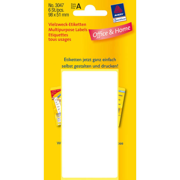 etiket Zweckform 98x51mm wit blister a 6 etiketjes