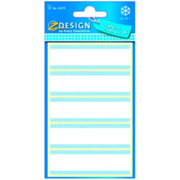 diepvriesetiket Z-design Home 76x22mm 25 etiketten wit/blauw