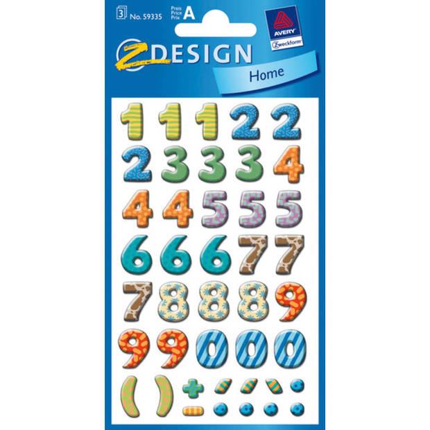 cijferetiket Z-design School pakje a 3 vel bont gekleurd