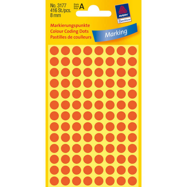etiket Zweckform 8mm rond 4 vel a 104 etiketjes rood