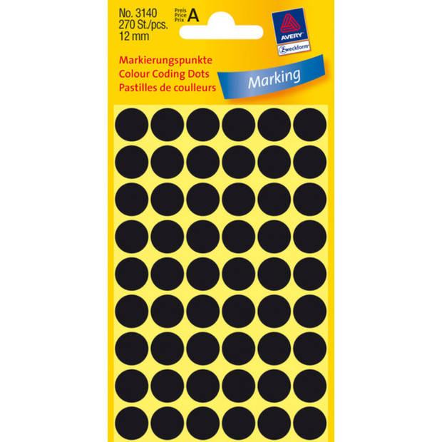 etiket Zweckform 12mm rond 5 vel a 54 etiketjes zwart
