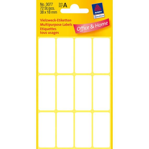 etiket Zweckform 38x18mm wit blister a 72 etiketjes
