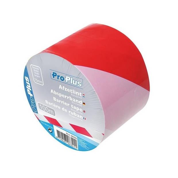 Afzetlint rood/wit - 100 meter - 75 mm - markeerlinten