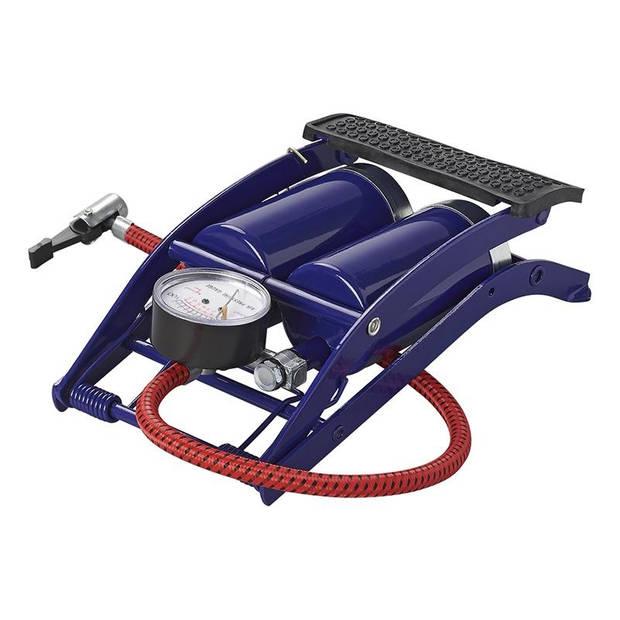 ProPlus voetpomp dubbele cilinder met manometer 7 bar blauw