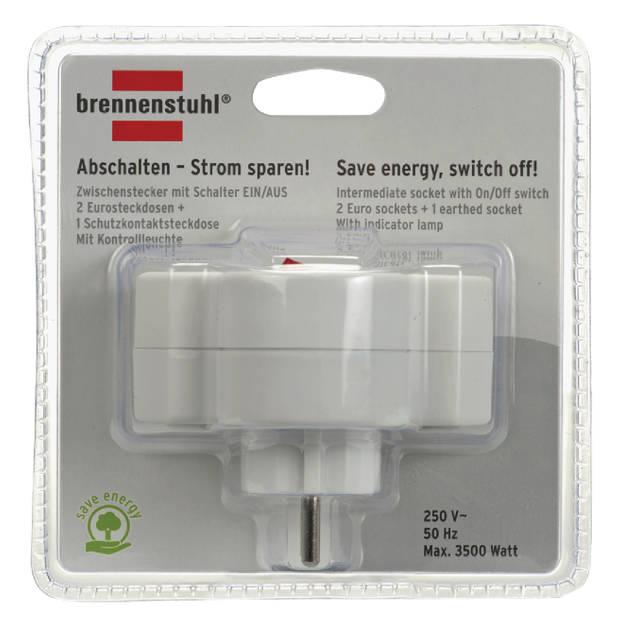 Brennenstuhl Stopcontact splitter met schakelaar 230V 1 x Schuko / 2 x Euro Wit
